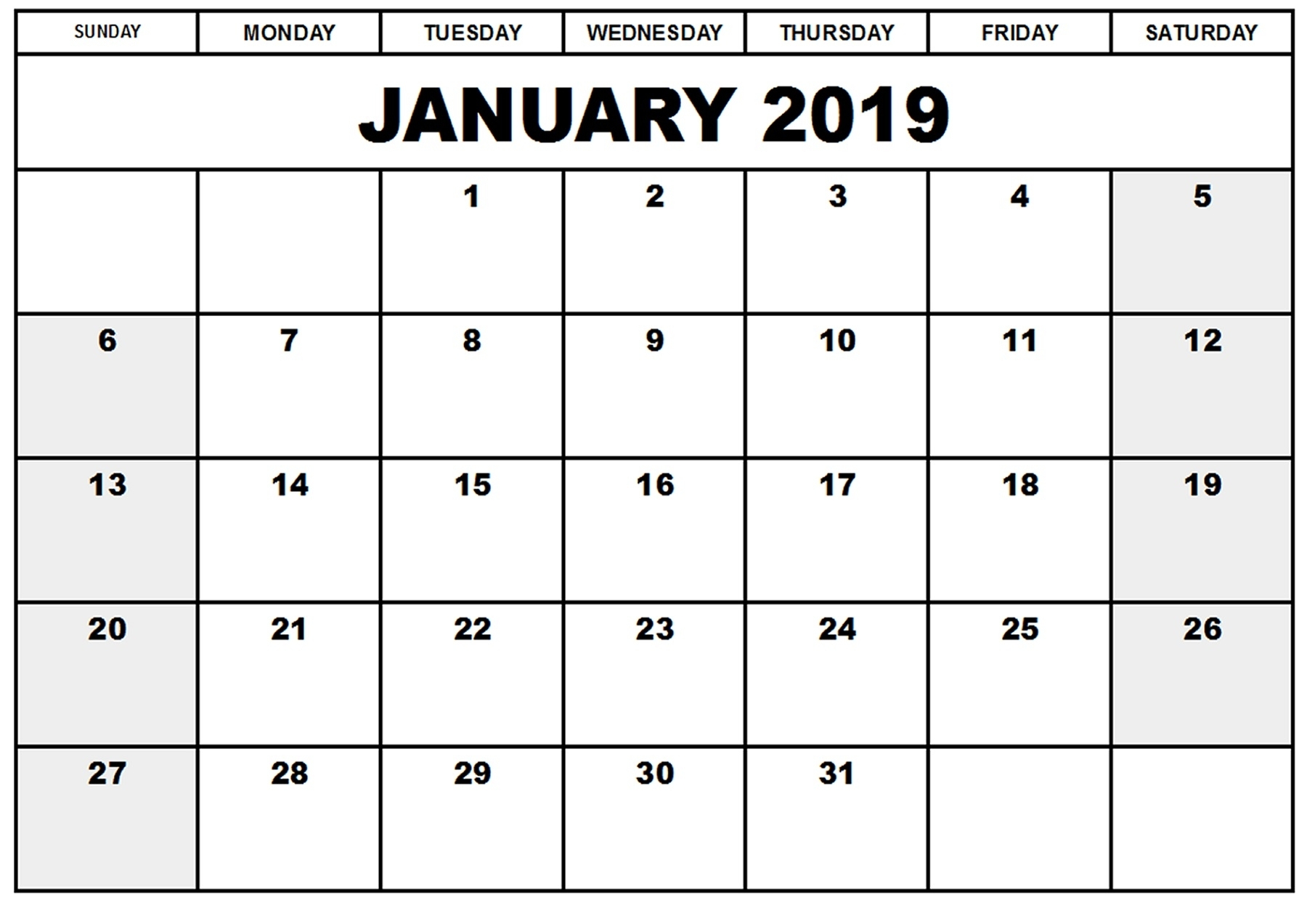 Blank Printable Calendar 2019 Monthly – Printable Shelter intended for Editable Printable Calendars By Month