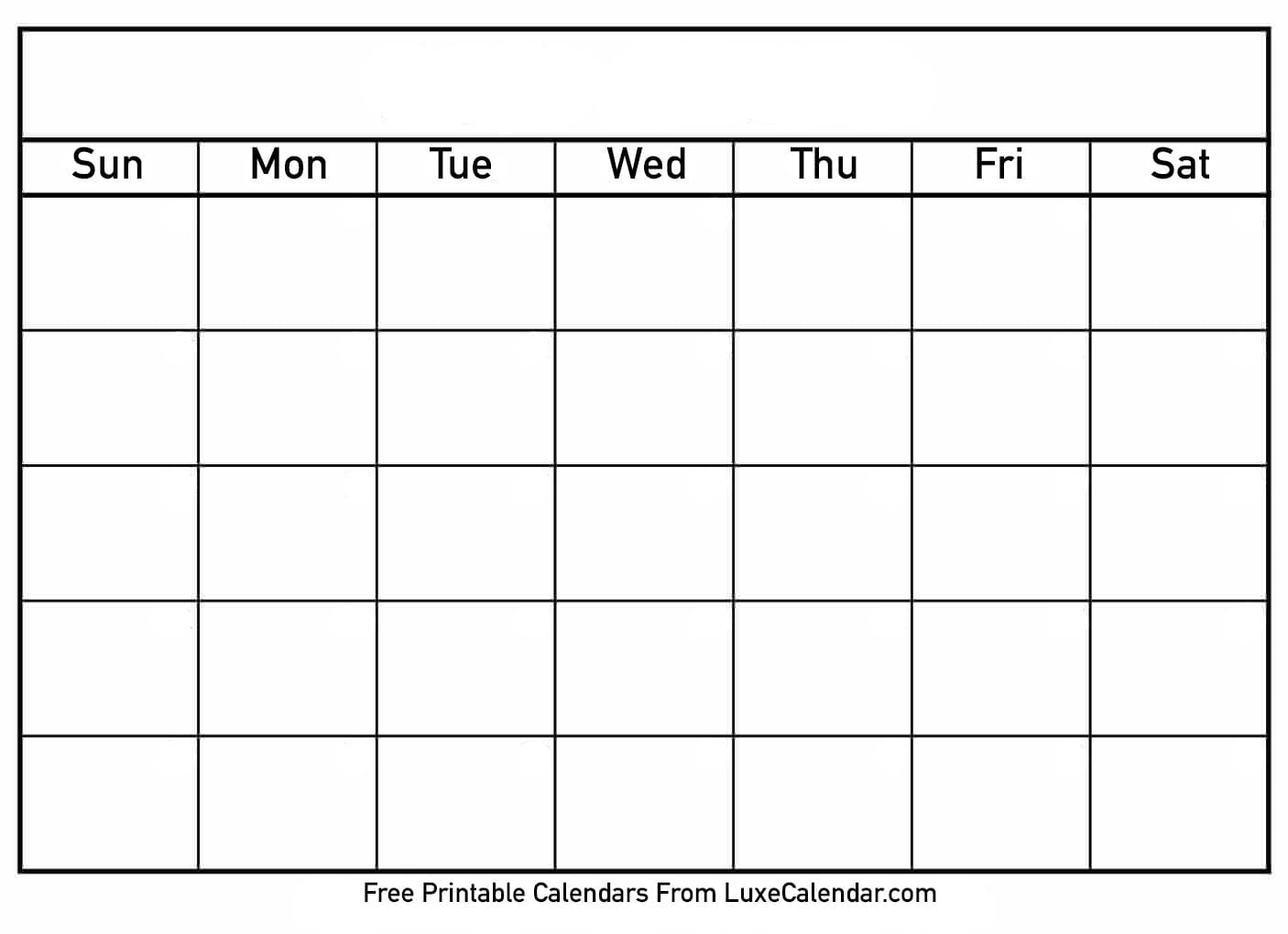 Blank Printable Calendar - Luxe Calendar inside Free Printable Blank Calendars To Fill In