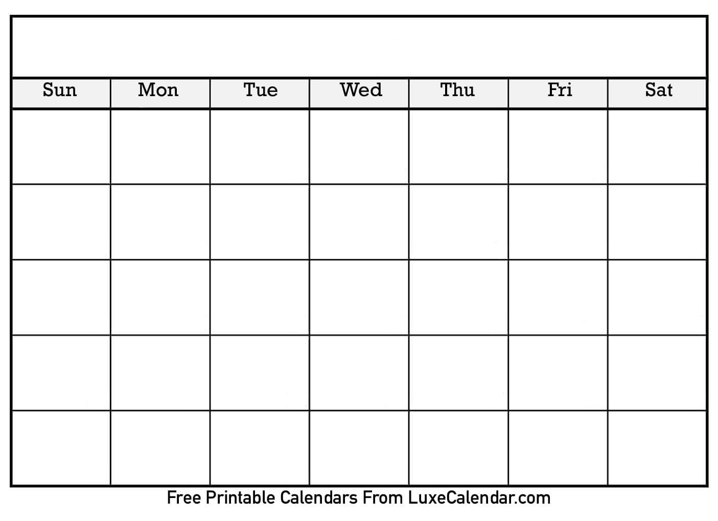 Blank Printable Calendar - Luxe Calendar intended for Blank Calendar For A Month