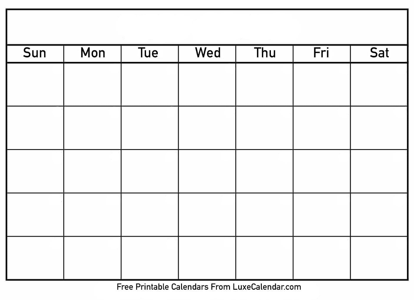 Blank Printable Calendar - Luxe Calendar throughout Fill In Blank Calendar Templates