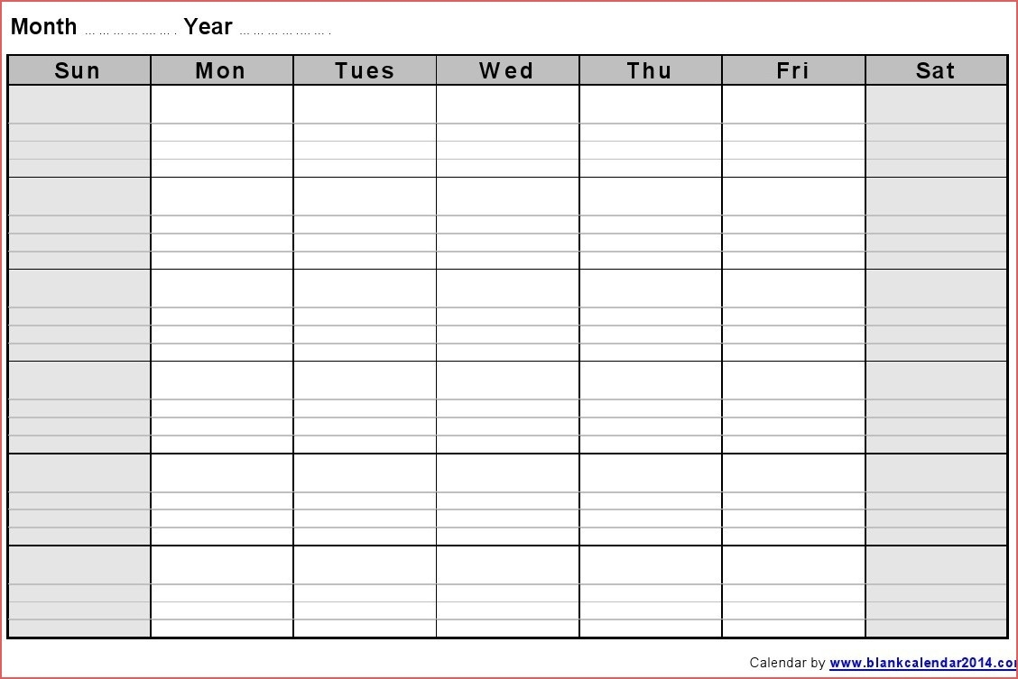 Blank Printable Monthly Calendar Monthly Blank Calendar Notes regarding Printable Monthly Calendar With Notes