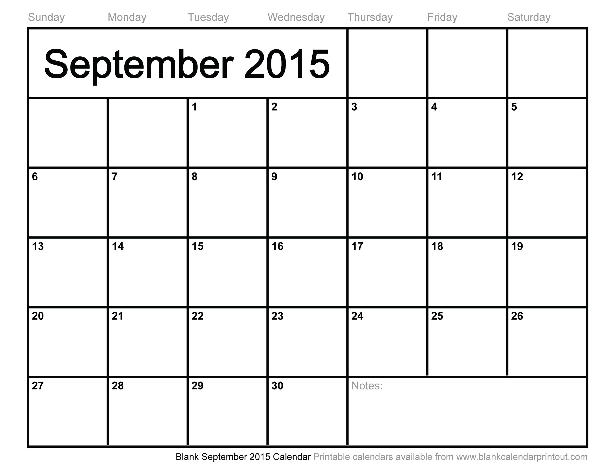 Blank September 2015 Calendar To Print throughout Calendar For Month Of September