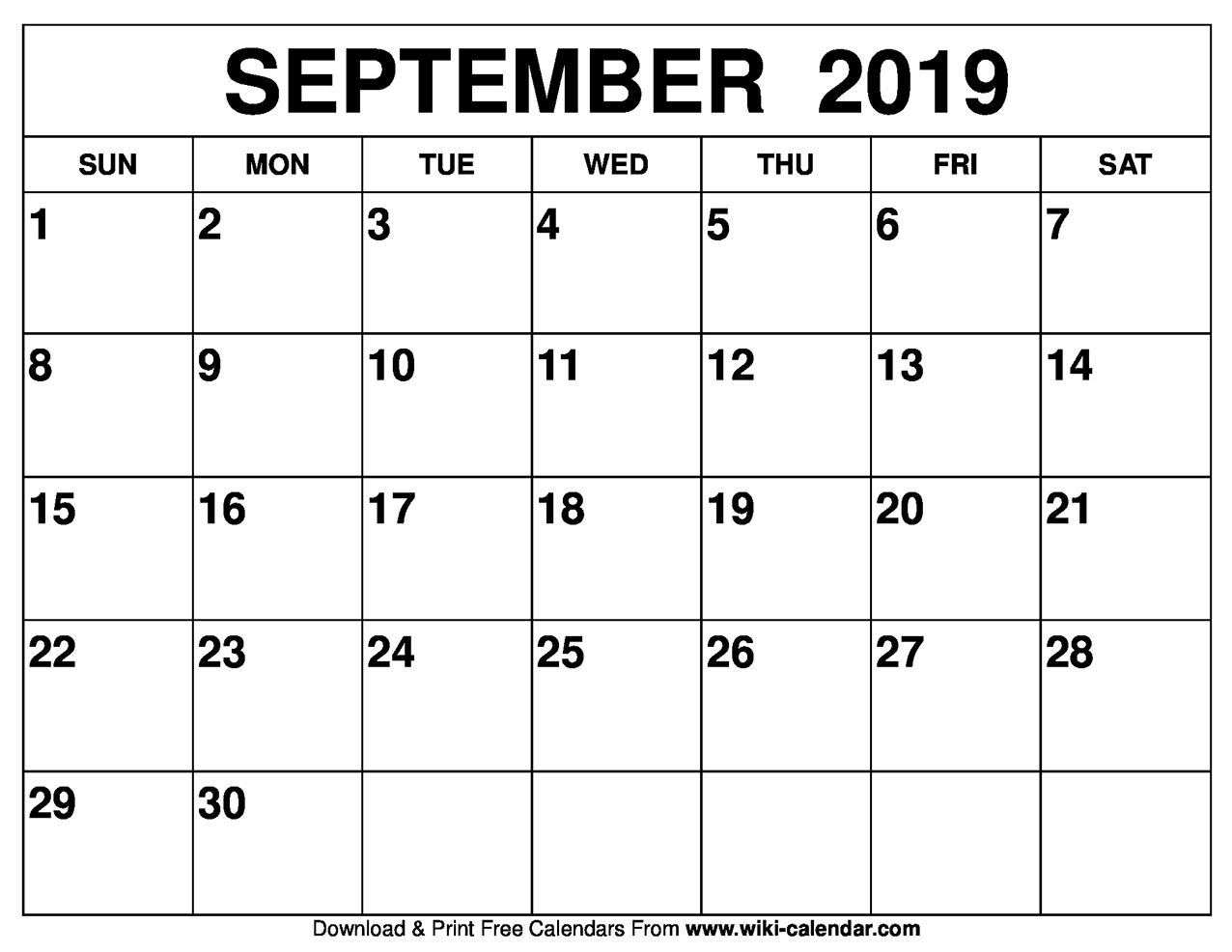 Blank September 2019 Calendar Printable inside Print Out Of September Calendar