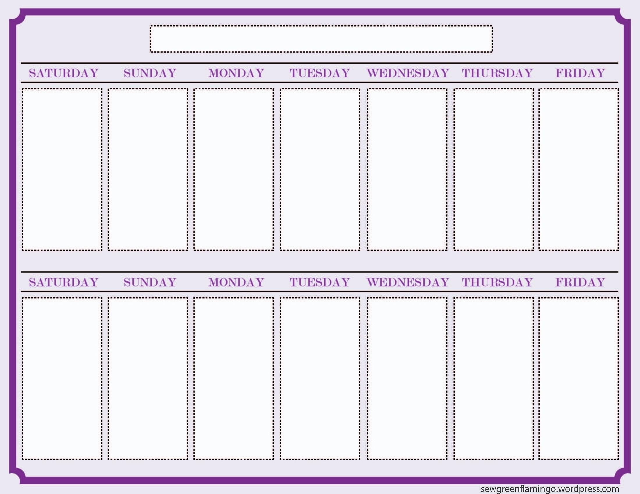 Blank Two Week Calendar Print Free E Printable Schedule   Smorad with regard to Print A Two Week Calendar