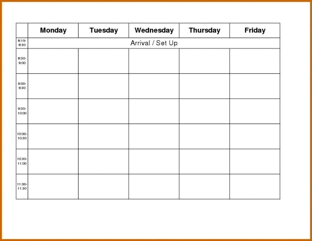 Blank Weekly Calendar Day Through Friday Sunday To Saturday Free for Monday Through Friday Blank Schedule Print Out