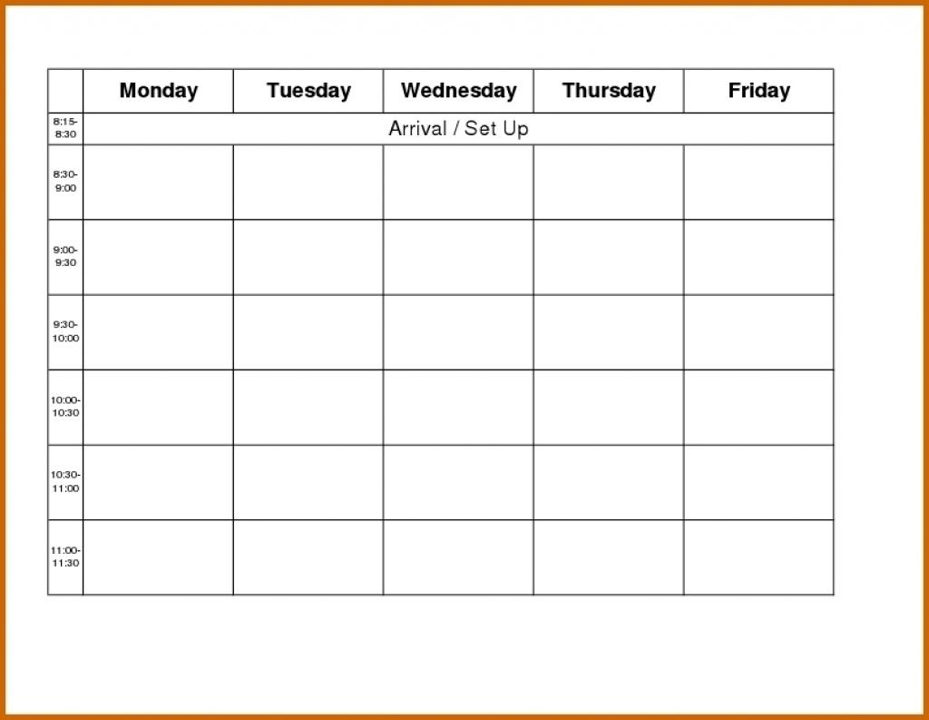 Blank Weekly Calendar Day Through Friday Sunday To Saturday Free in Monday Through Friday Blank Calendar Template