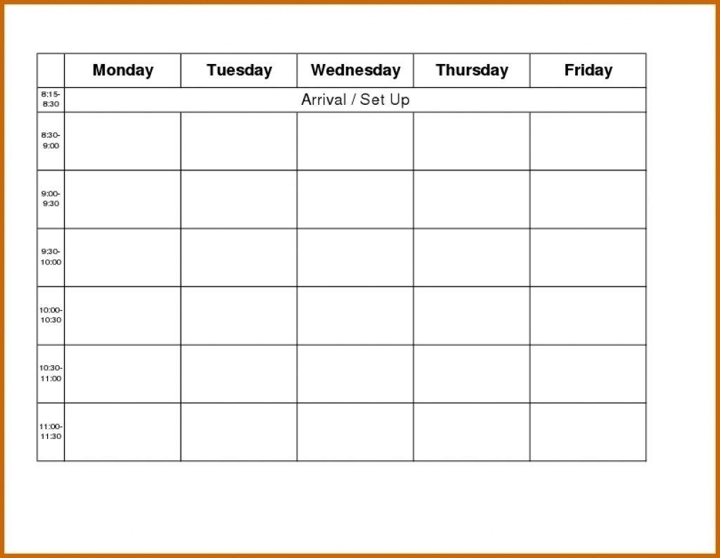 Blank Weekly Calendar Day Through Friday Sunday To Saturday Free throughout Monday Thru Friday Calendar Printable