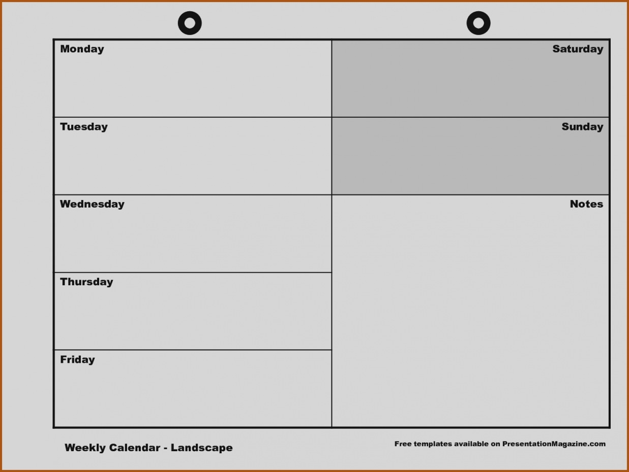 Blank Weekly Calendar Monday Through Friday Schedule Template Free throughout Free Printable Calendar Monday Through Friday With Notes