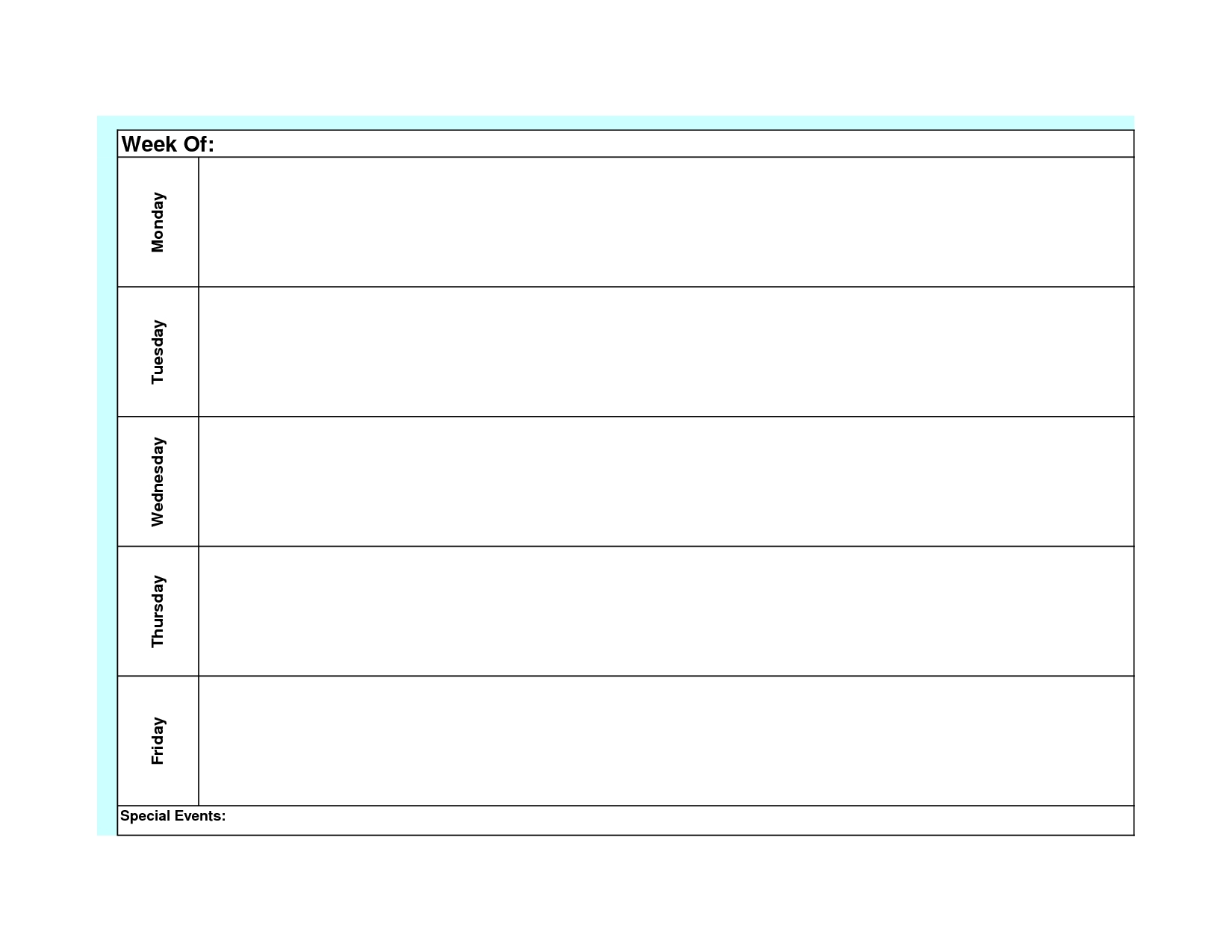 Blank Weekly Calendar Monday Through Friday Template Planner To | Smorad throughout Monday Through Friday Blank Schedule Print Out