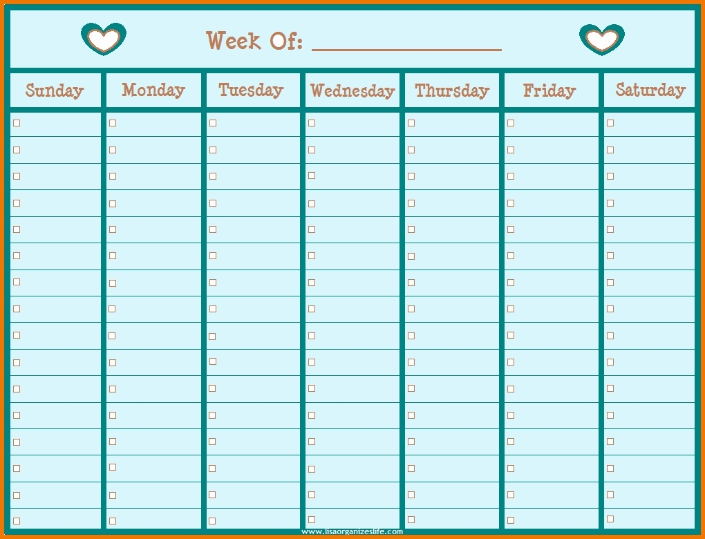 Blank Weekly Schedule With Times Free Printable Calendar Time | Smorad throughout Printable Weekly Schedule With Hours Monday To Friday