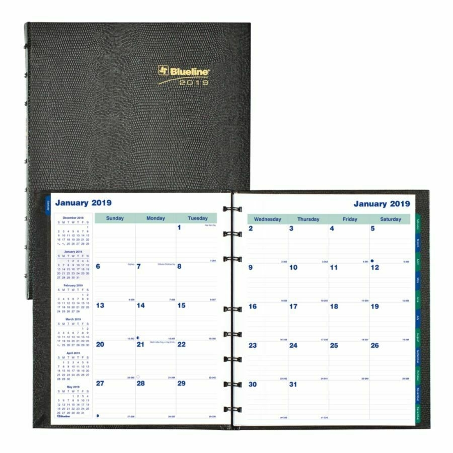 "Blueline Miraclebind Coilpro Monthly Planner, 9 1/4"" X 7 1/4"", Aug within 4 X 4 Monthly Planner"