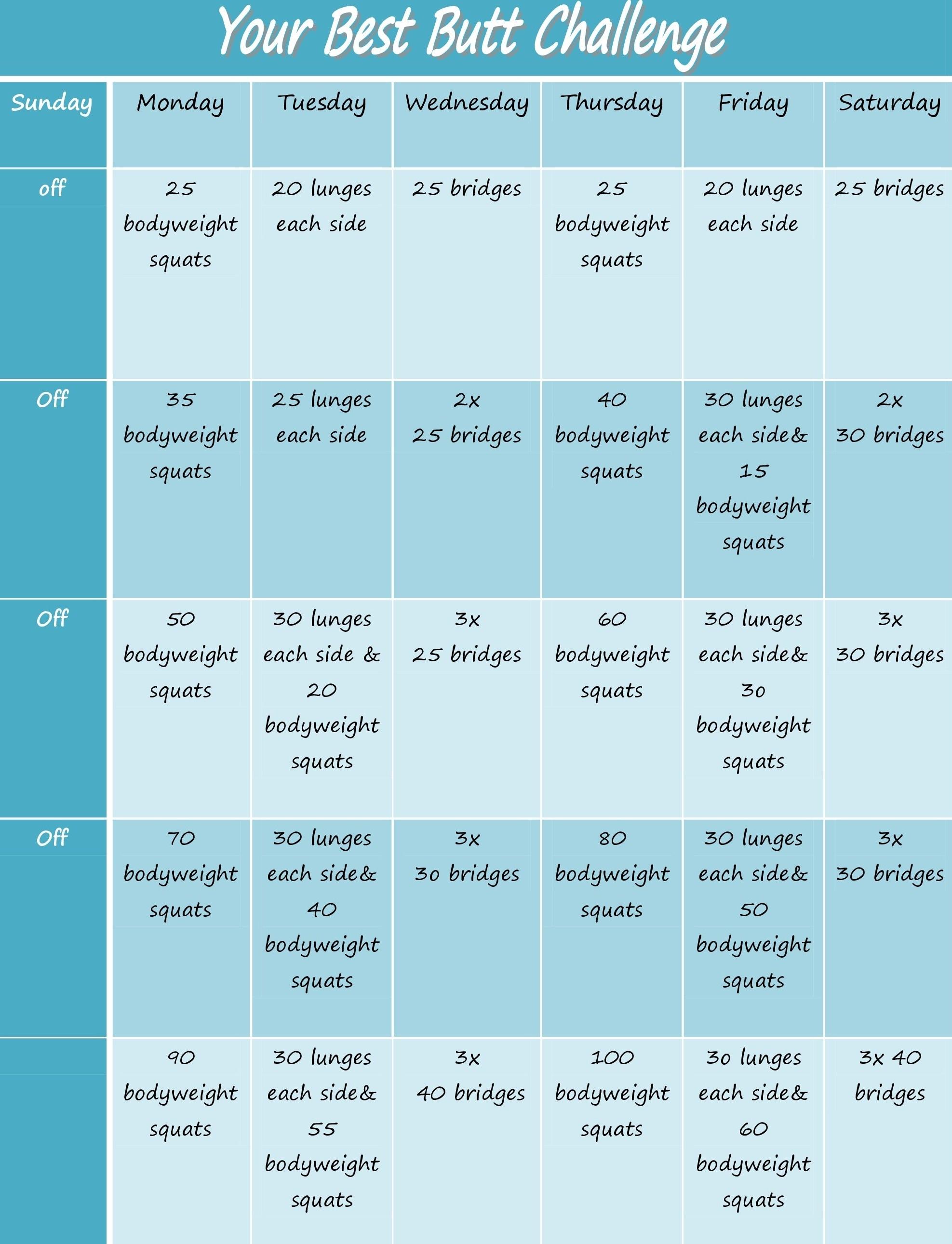 Bubble Butt Challenge! – Sugarysixpack inside 30 Day Inner Thigh Challenge Calendar
