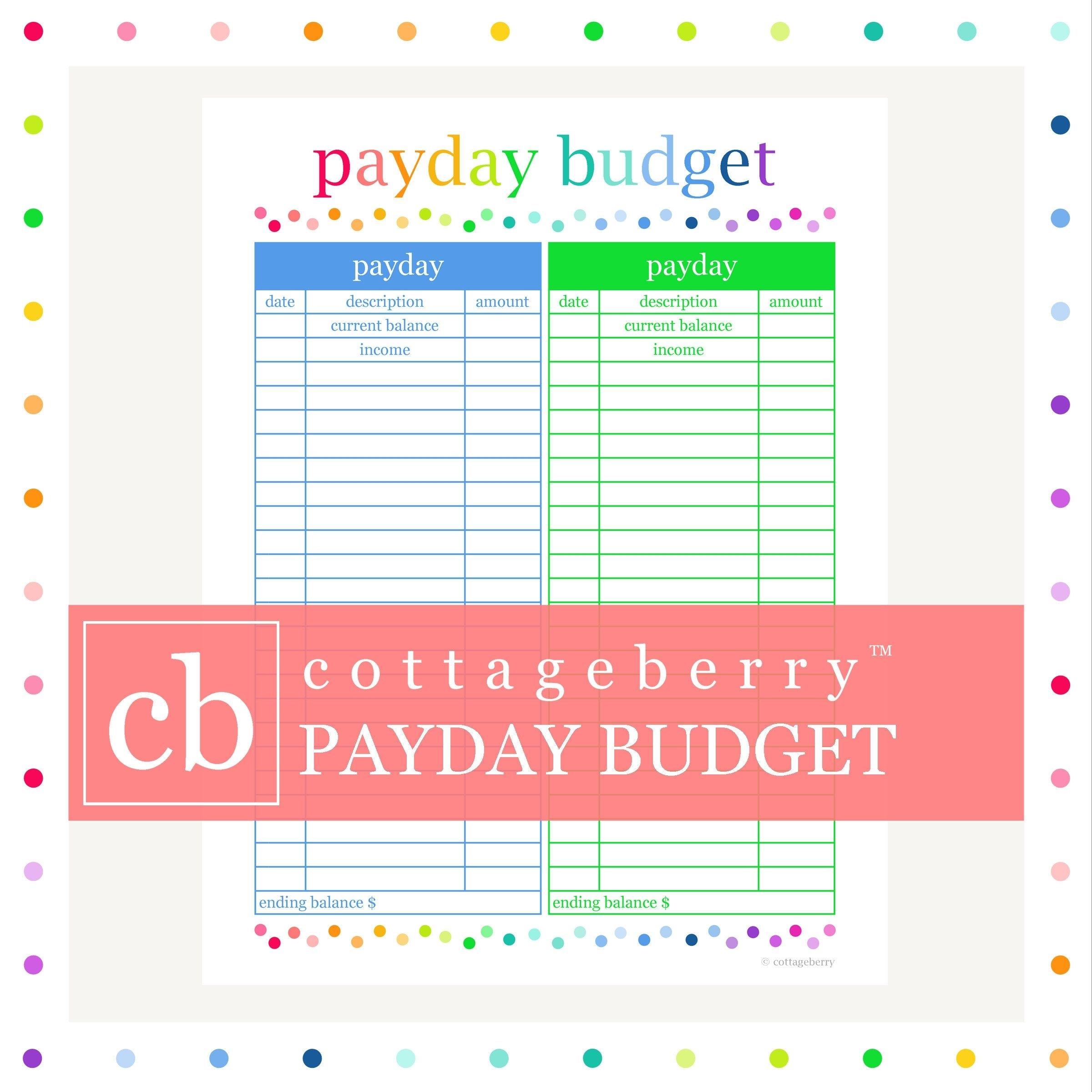 Payday And Bill Calendar Printable