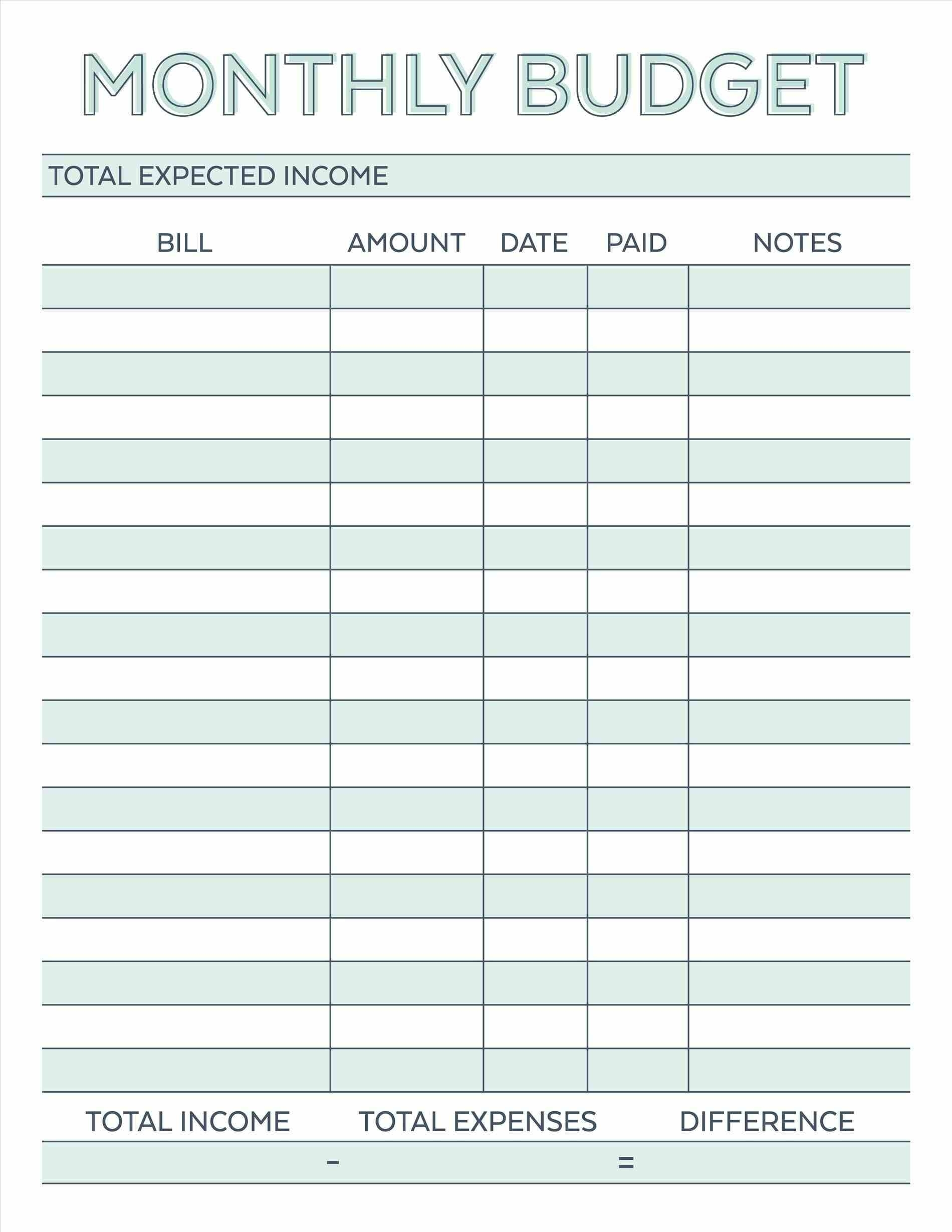Budget Planner Planner Worksheet Monthly Bills Template Free inside Free Printable Monthly Bill Templates