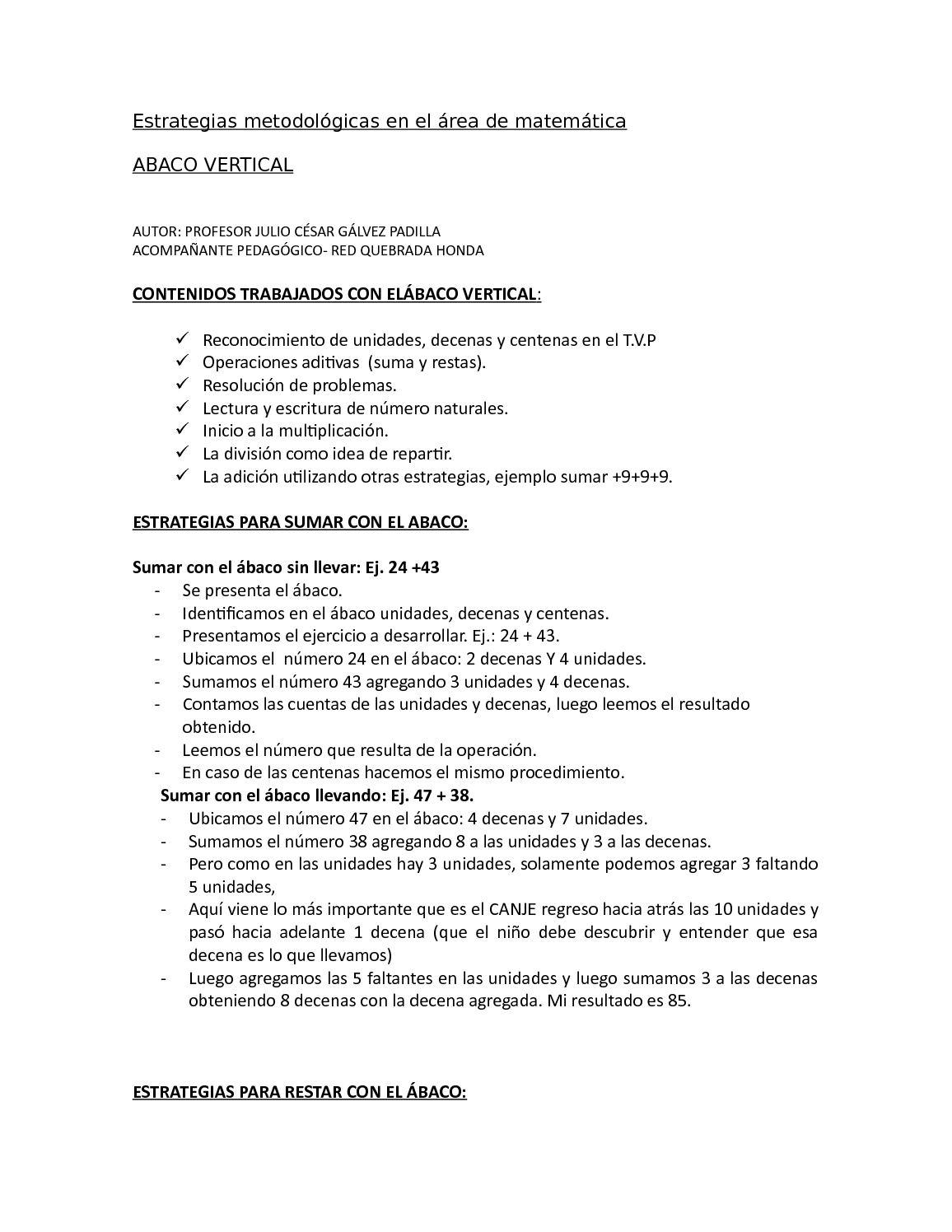 Calaméo - Estrategias Metodologicas De Julio Galvez within Operaciones Con El Abaco Suma