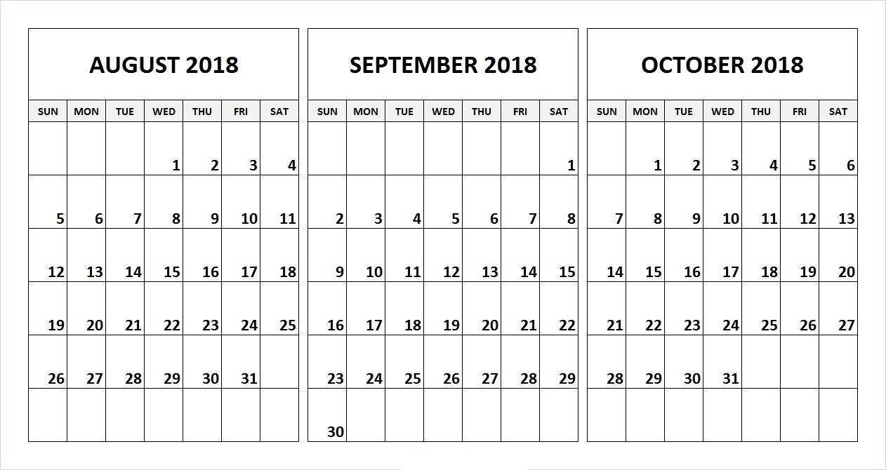 Calander From August – December | Template Calendar Printable within Calander From August - December