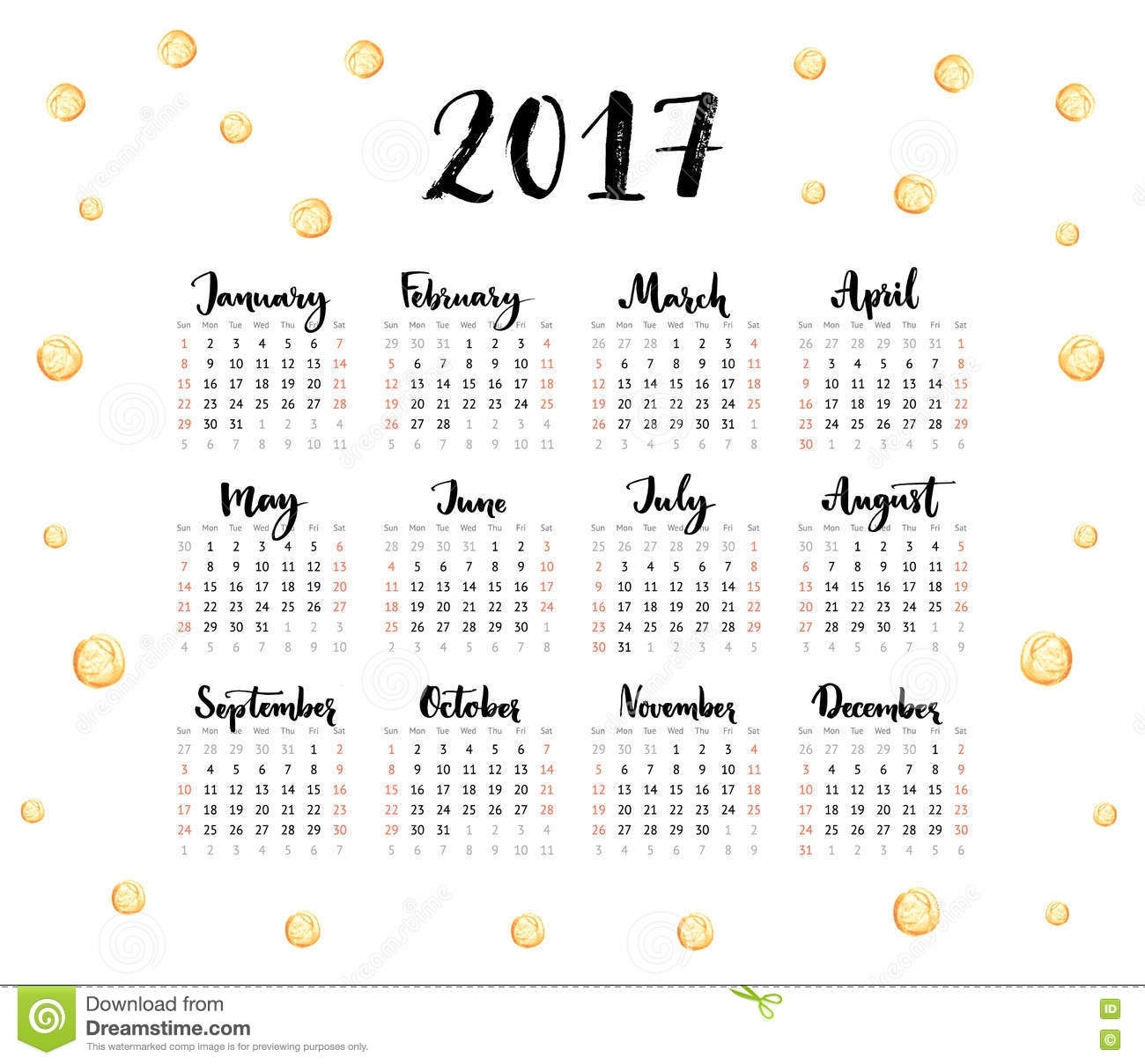 Calendar 2017 Year. Week Starts Sunday. One Sheet With Handwritten with Calendar With All The Years