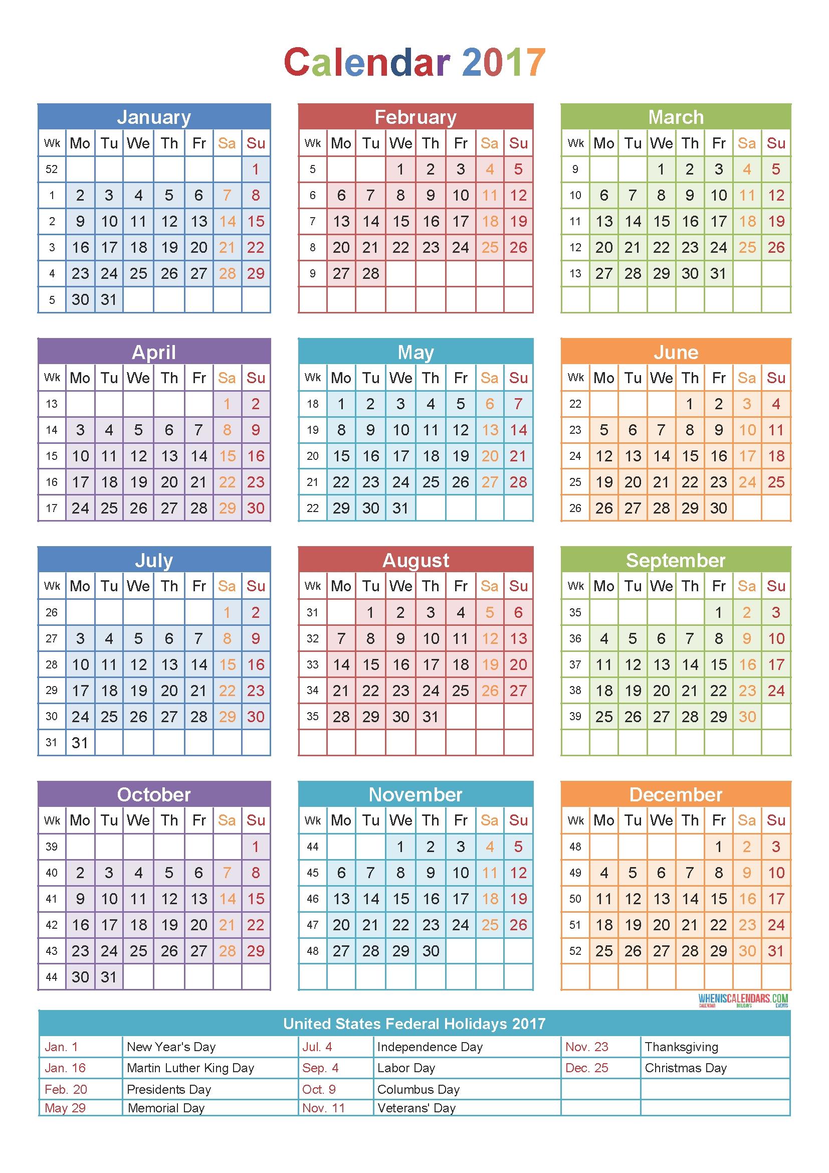 Calendar 2017Week Number | Holidays | Printable Calendar for Number Of The Week Template