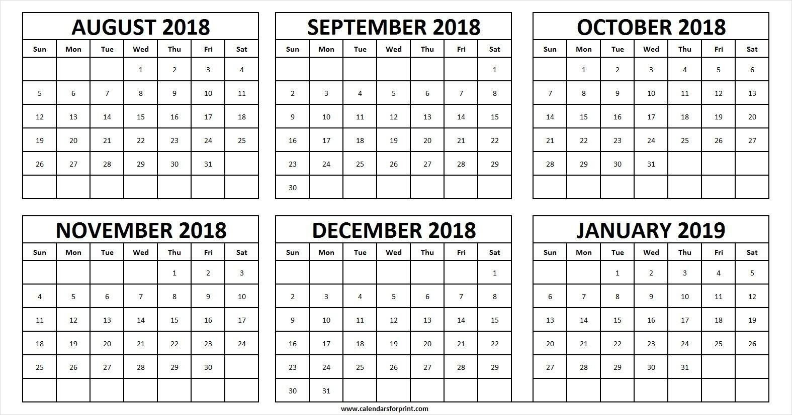 Calendar 2018 August To December Printable | Calendar Format Example inside Calander From August - December