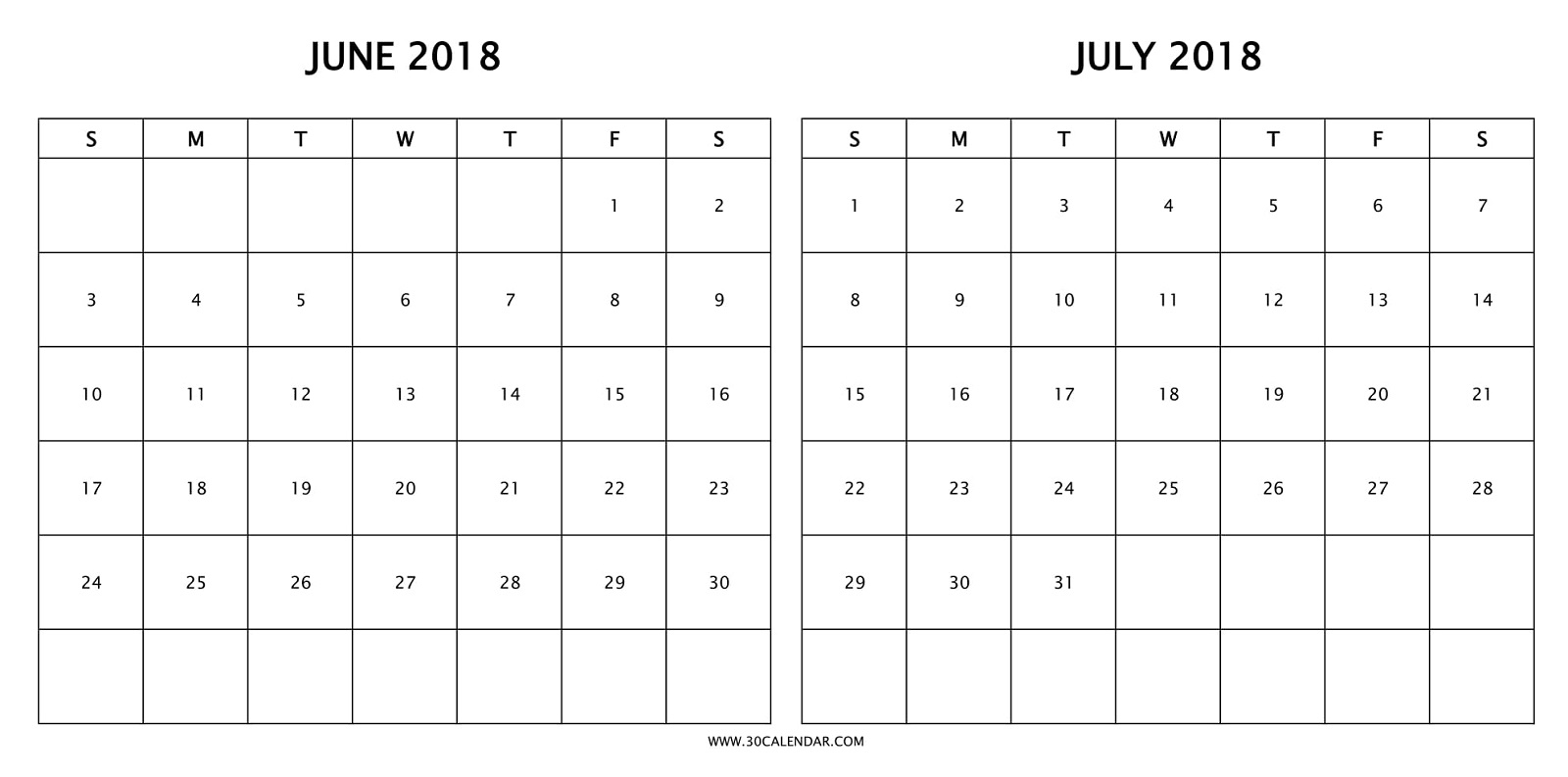 Calendar 2018 June July To Print | 2 Months 2018 Calendar Template pertaining to Calender For June And July