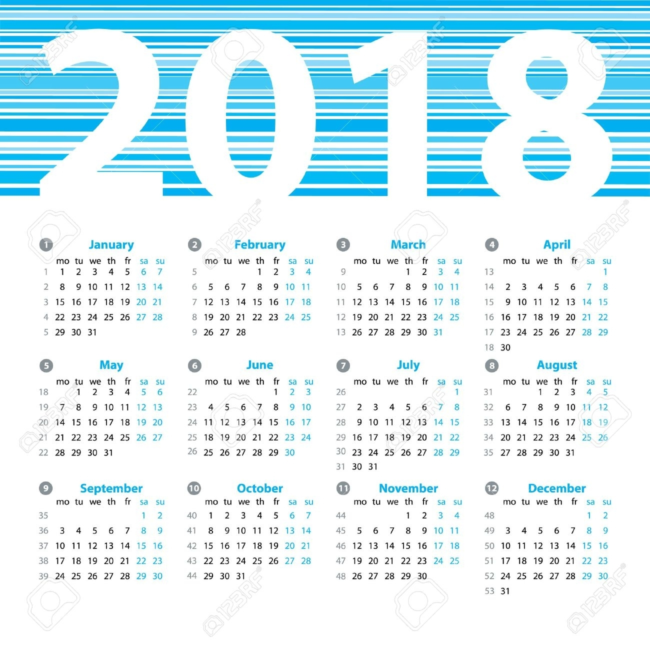 Calendar 2018 Year Vector Design Template With Week Numbers And for Calendar With The Months Number