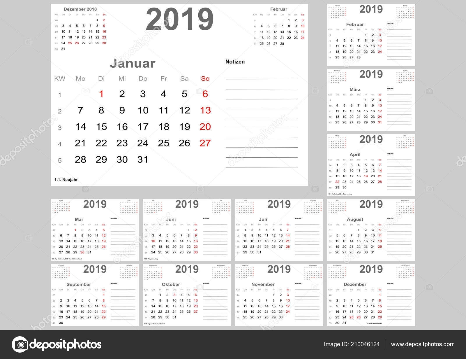 Calendar 2019 Germany Holidays Room Notes Previous Month Set within 12 Month Calendar With Room For Notes