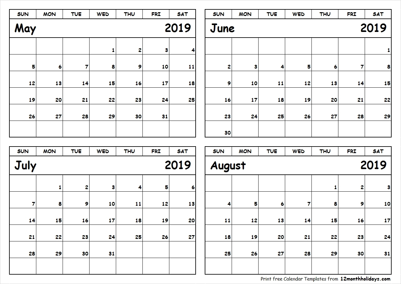 Calendar 2019 May June July | Template Calendar Printable intended for Printable Calendar For May June July