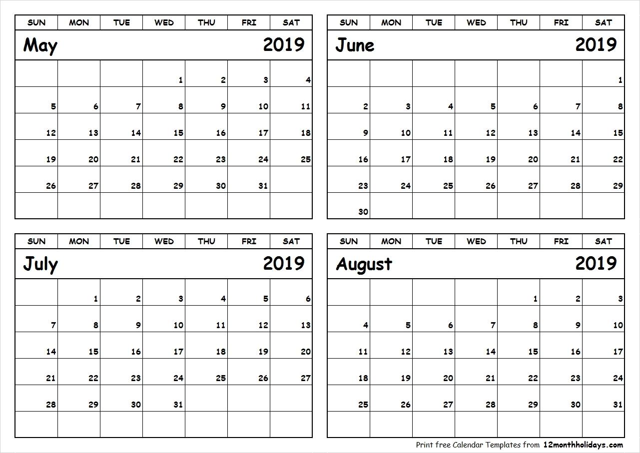 Calendar 2019 May June July | Template Calendar Printable intended for Printable Calendar For May June July
