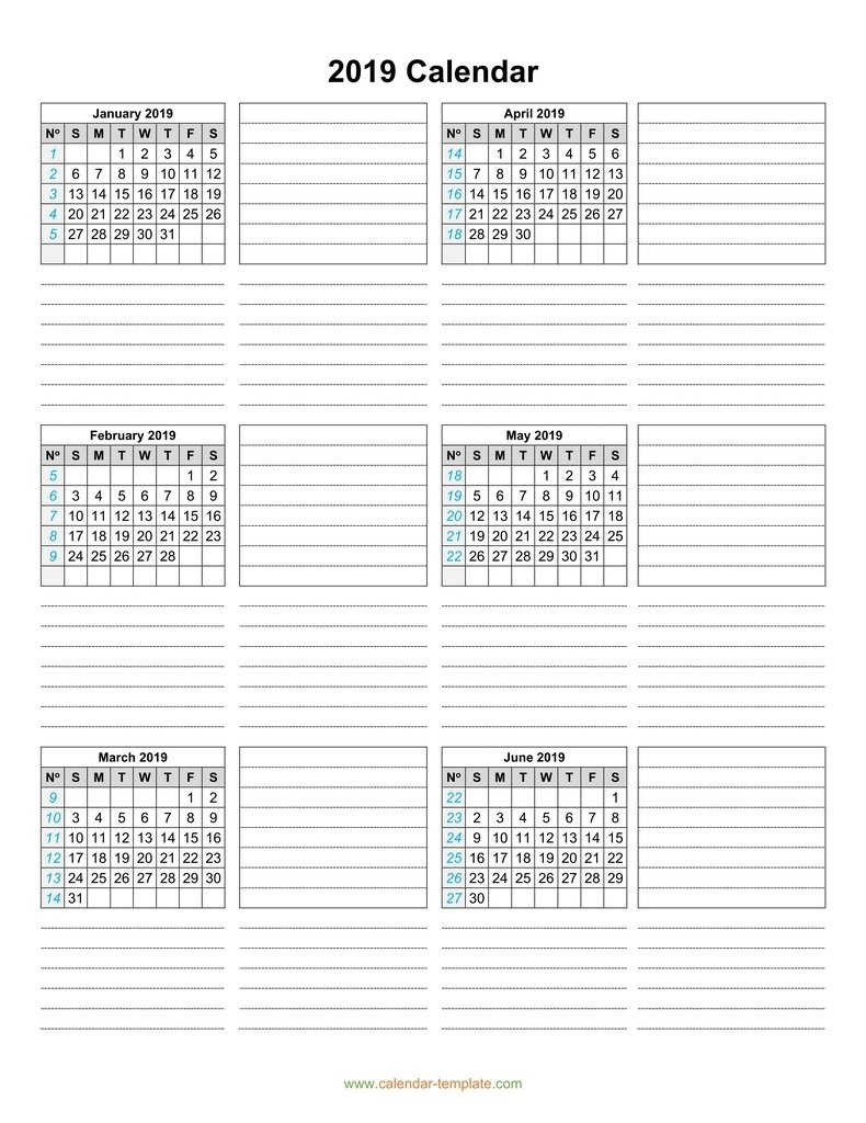 Calendar 2019 Template Six Months Per Page within Free Printable 6 Month Calendar