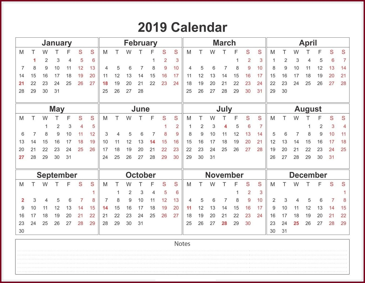 Calendar 2019 Template Word | 2019 Calendar Template In One Pages with regard to Combined Monthly And Weekly Calendar Template Word