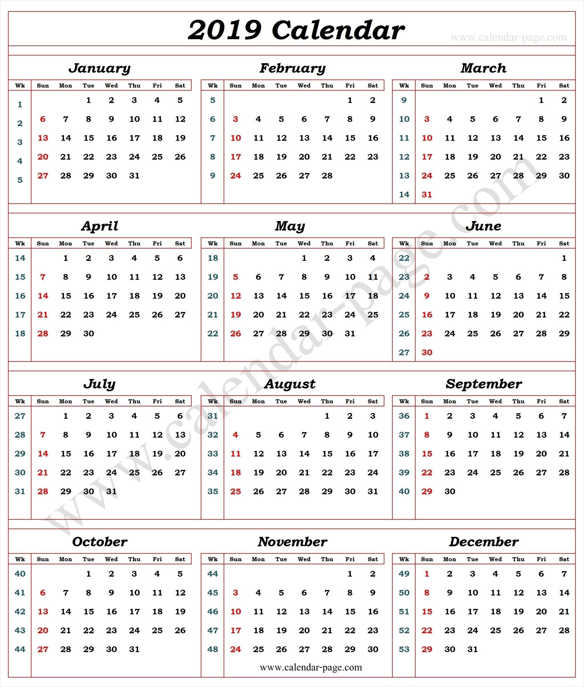 Calendar 2019 With Week Numbers | 2019 Calendar Template | Blank inside Number Of The Week Template