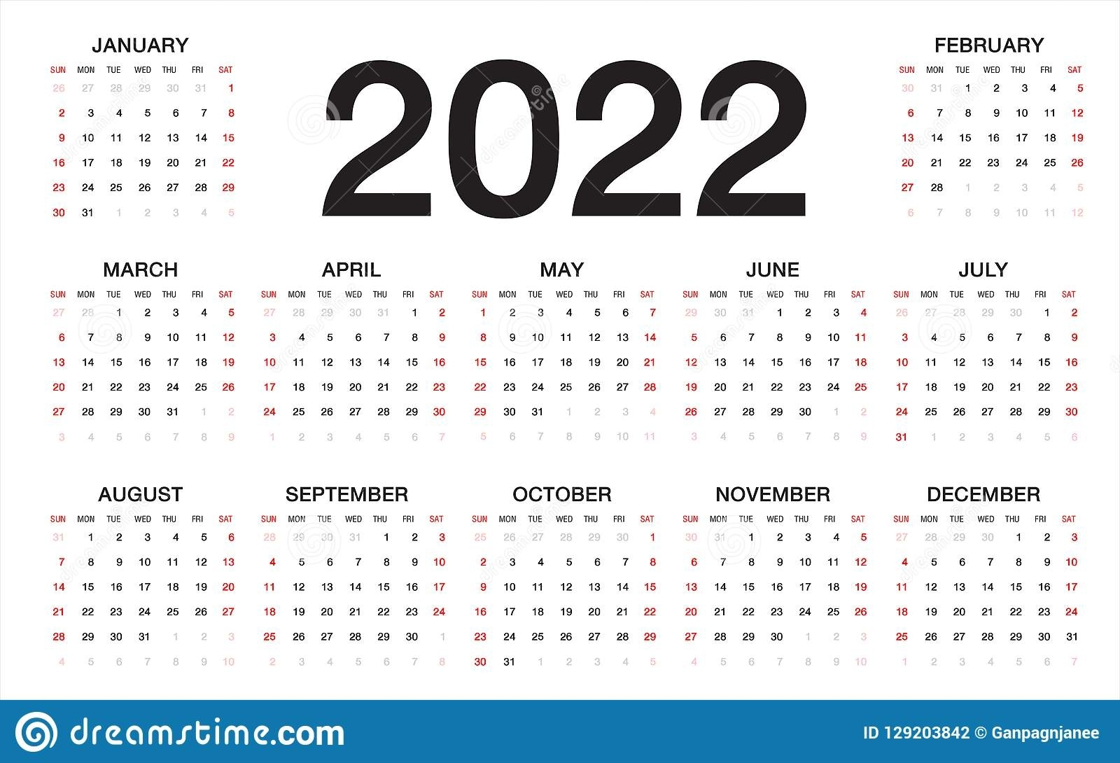 Calendar 2022, Week Starts From Sunday, Business Template Stock throughout 2 Week Schedule Template Mon- Sunday
