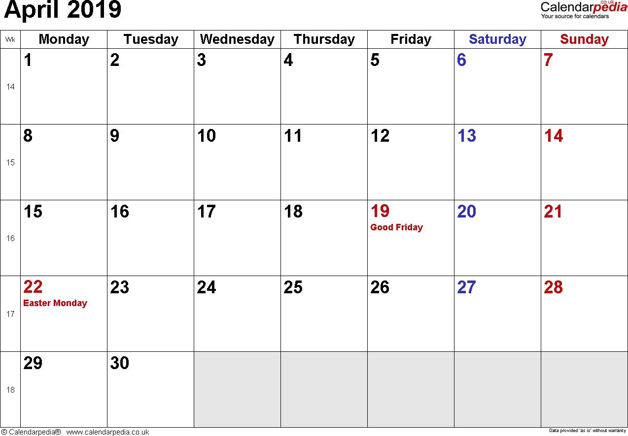 Calendar April 2019 Uk, Bank Holidays, Excel/pdf/word Templates inside Month Calendar Beginning On Monday