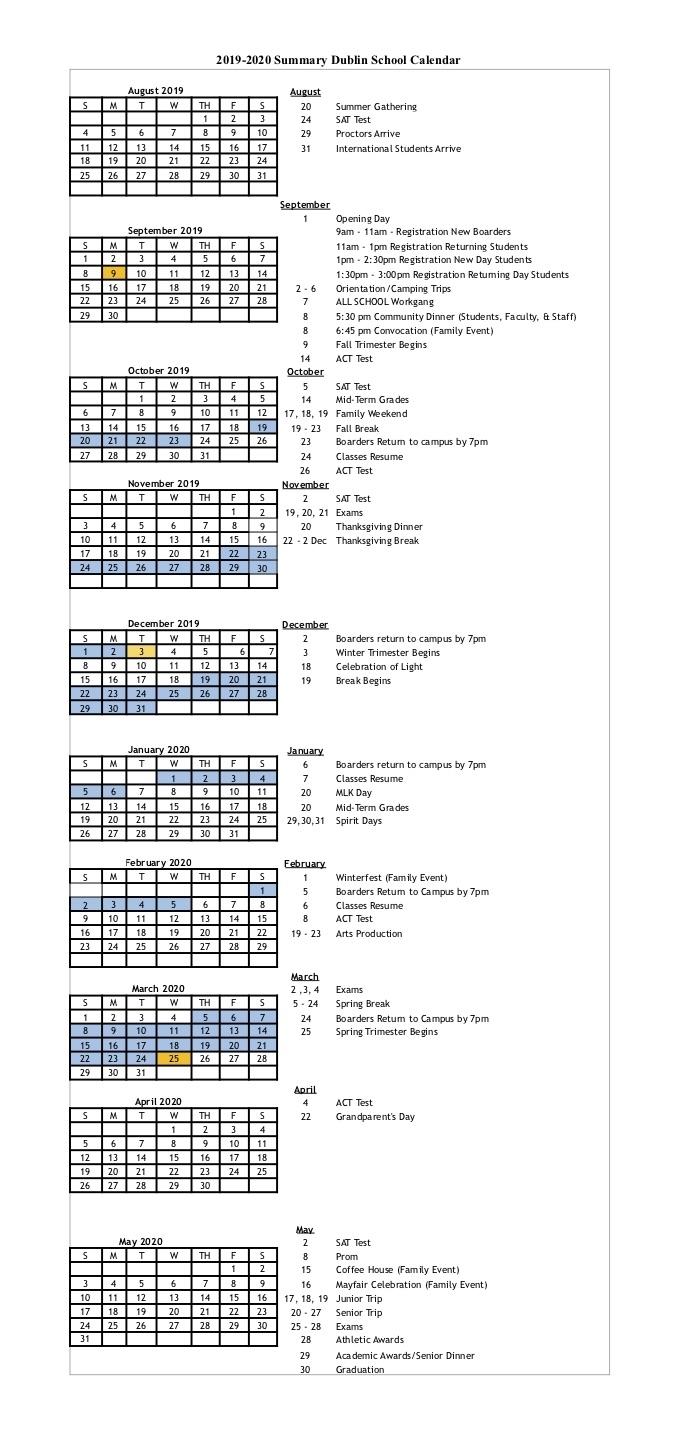 Calendar At A Glance 2019/2020 — Dublin School with regard to Year Calendar At A Glance