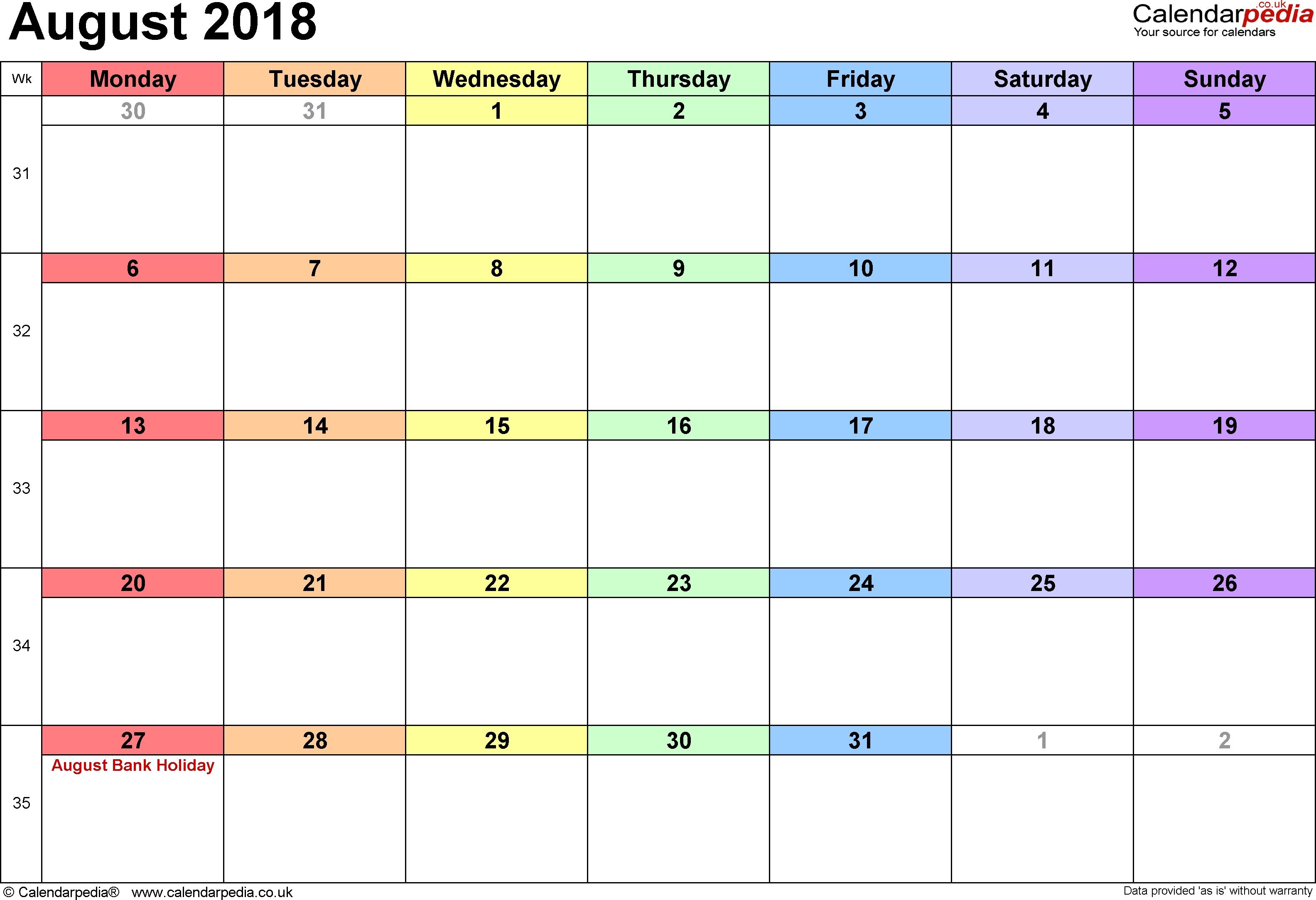 Calendar August 2018 Uk, Bank Holidays, Excel/pdf/word Templates regarding 3 Month Printable Calendar Online August