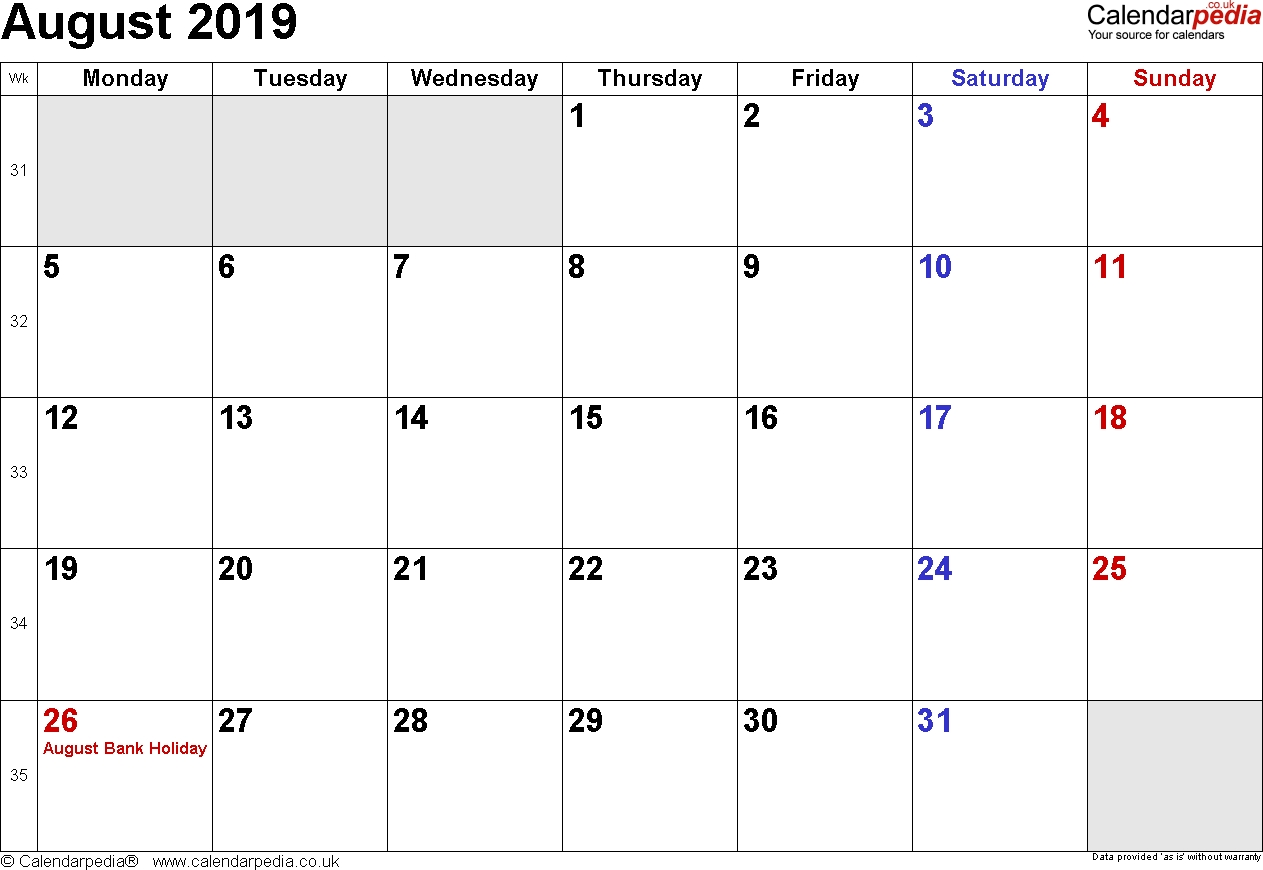 Calendar August 2019 Uk, Bank Holidays, Excel/pdf/word Templates within Small Calender For July And Agust