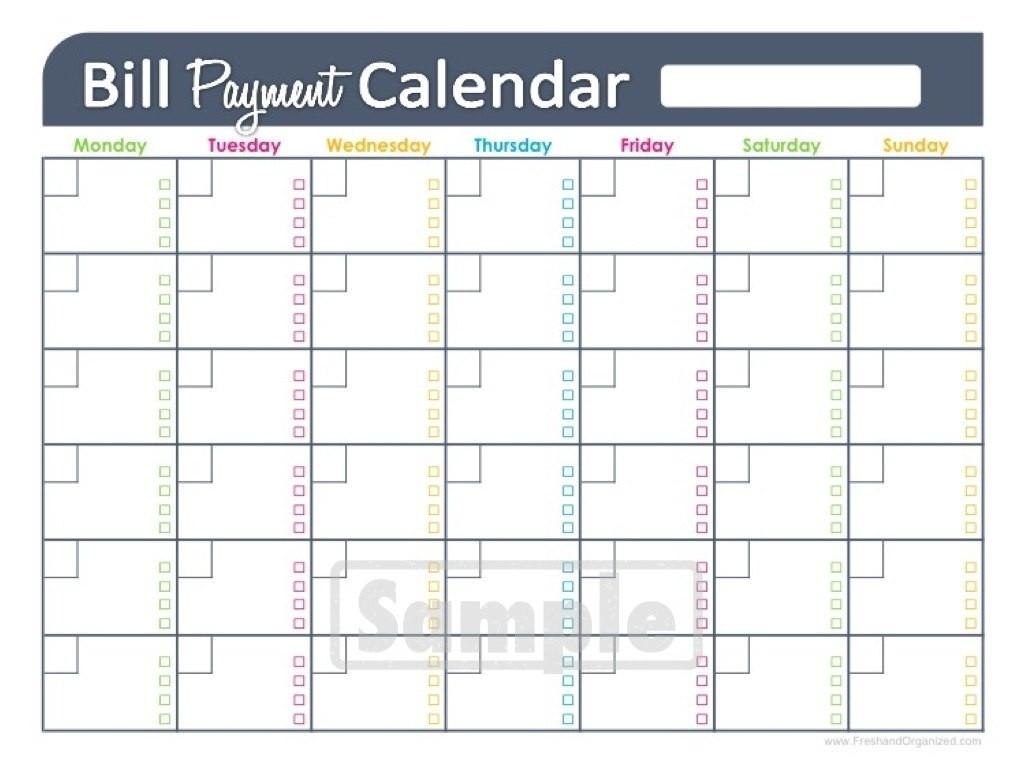 Calendar Bills Free Printable Template Calendar Template Images On in Blank Printable Monthly Bill Calendar