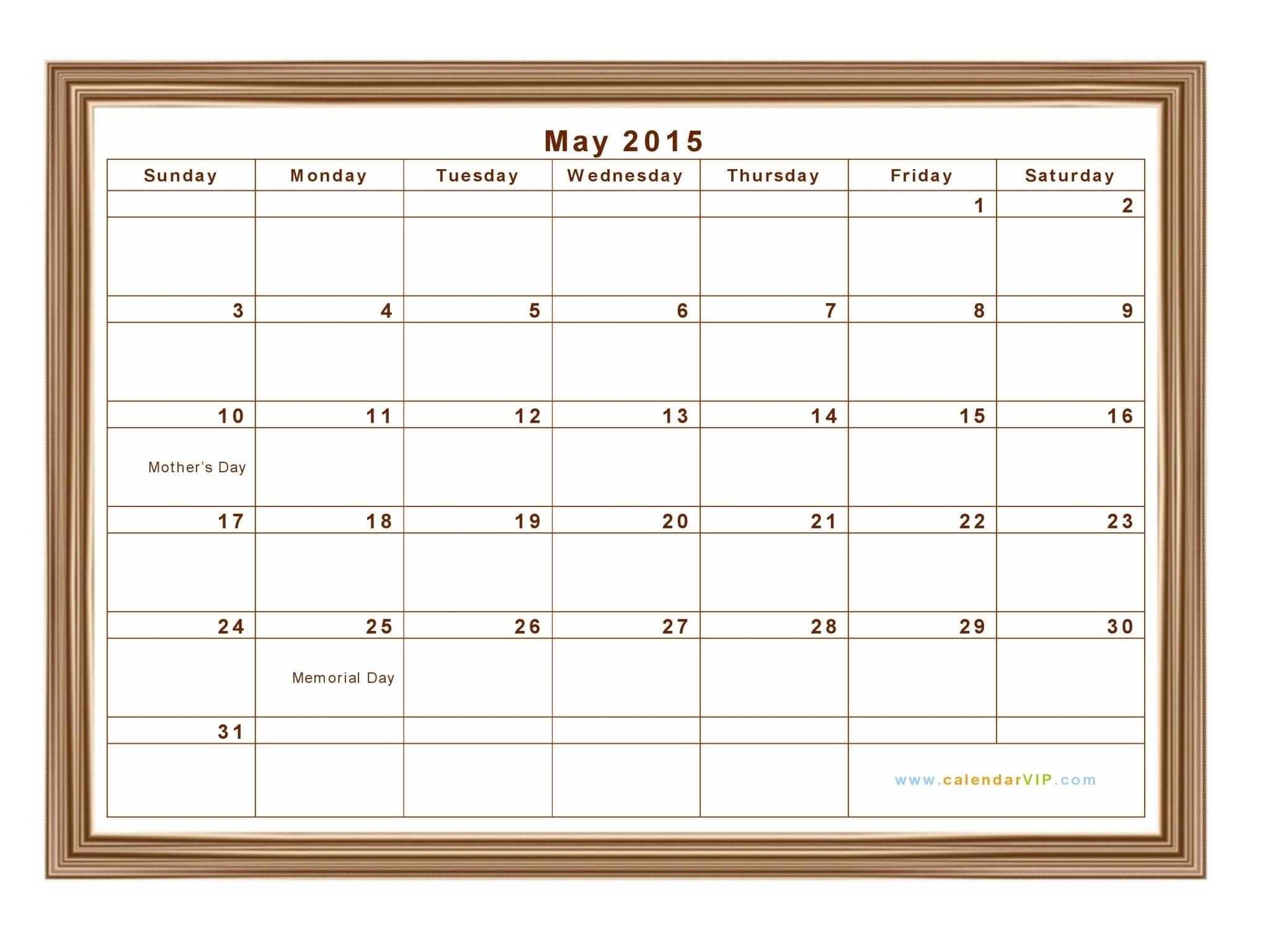 Calendar Doc May 2015 | Custom Calendar Usa throughout Blank Time And Date Calendar