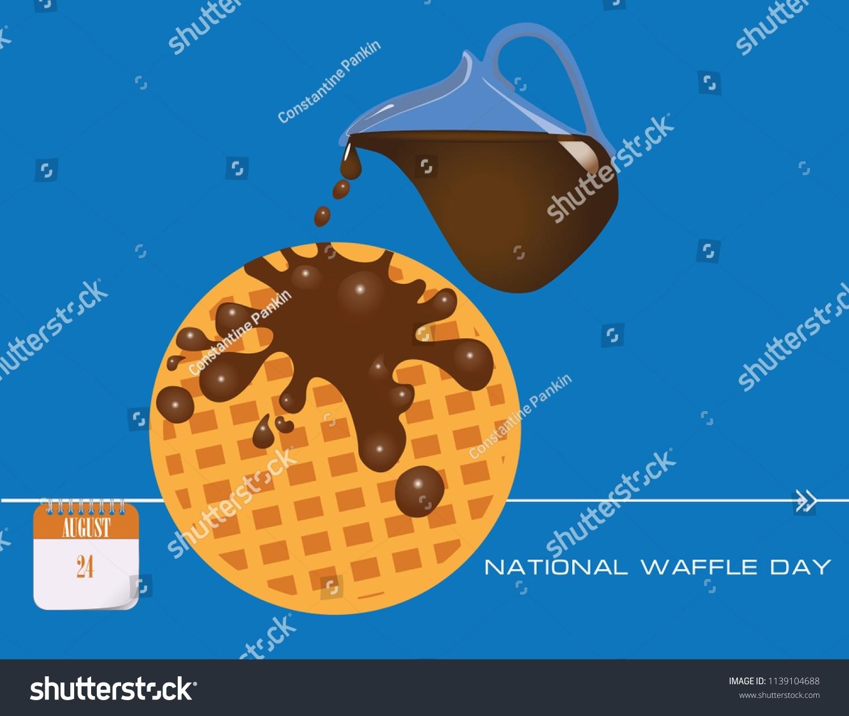 Calendar Events August Congratulations National Waffle Stock Vector throughout August National Food Day Calendar