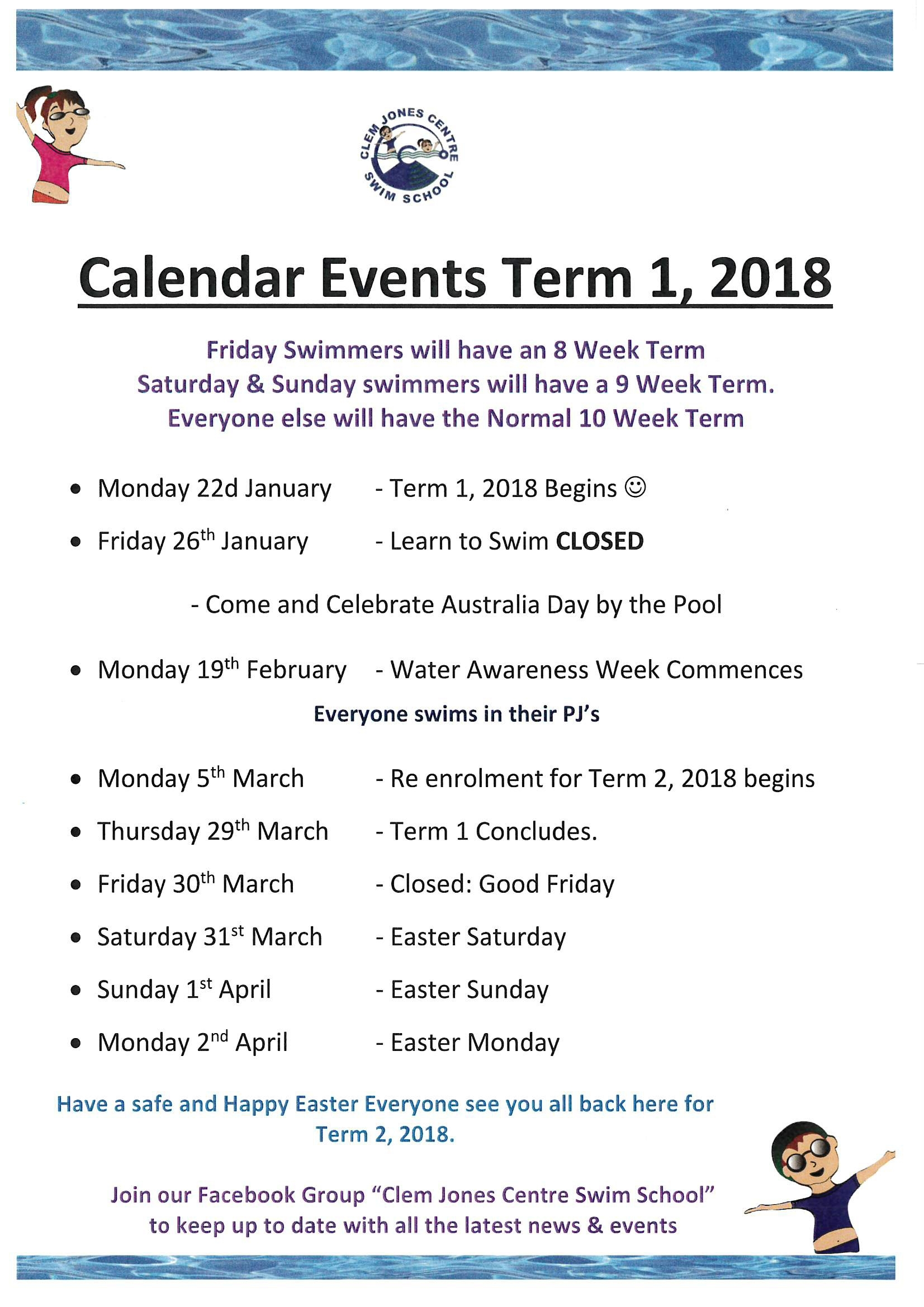 Calendar Events : Term 1, 2018 | Clem Jones Centre in Calender Of Term 1 Events
