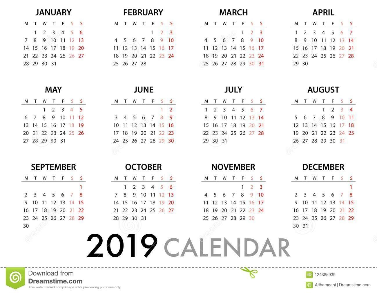 Calendar For 2019 Week Starts Monday. Simple Vector Template Stock with Weekly Calandar Template Starting Monday