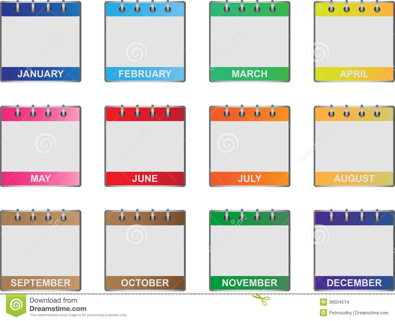Calendar Icons Set Stock Vector. Illustration Of Illustrations regarding Calendar Months Of The Year