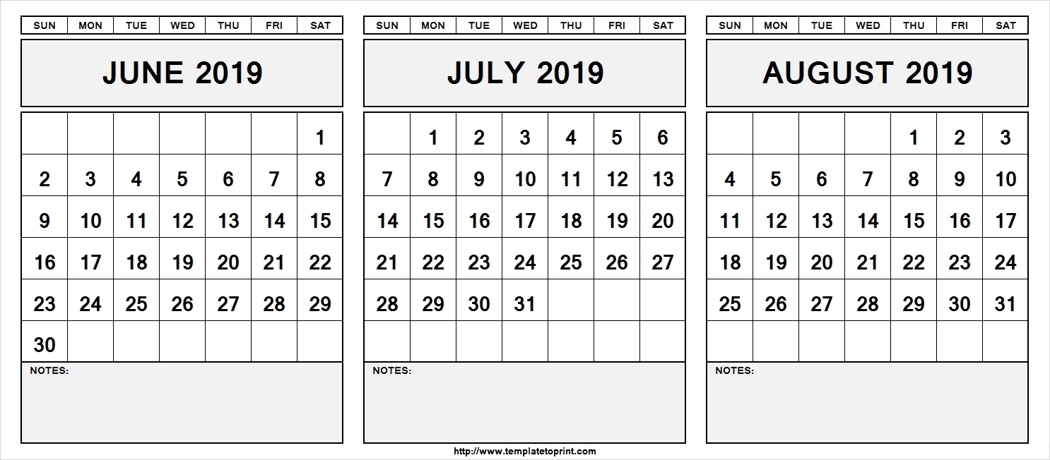 Calendar June-August 2019 | Template Calendar Printable intended for 3 Month Printable Calendar June July August