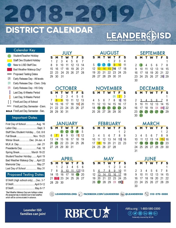 Calendar - Leander Independent School District regarding Blank 5 Day School Timetable