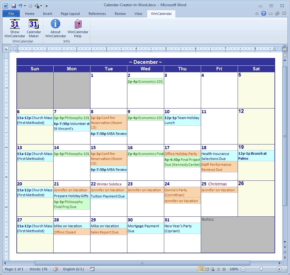 Calendar Maker & Calendar Creator For Word And Excel within How To See Vacation Calendar In Outlook