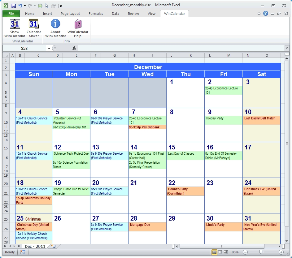 Calendar Maker Creator For Word And Excel Ft Scheduling Database in Outlook 2007 Calendar Event Template