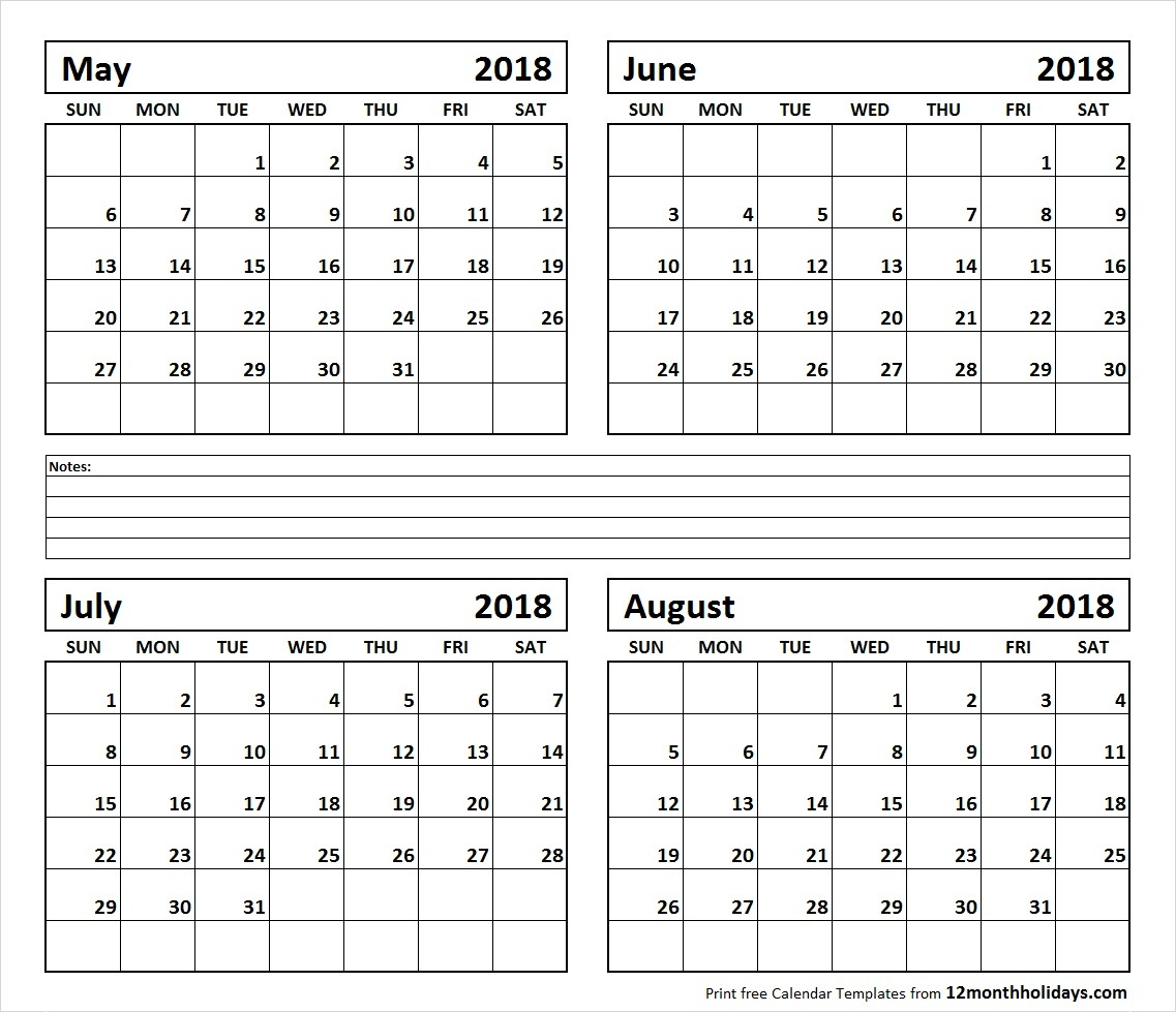 Calendar May To August 2018 Printable 10 May June July August 2018 inside Printable Calendar For May June July