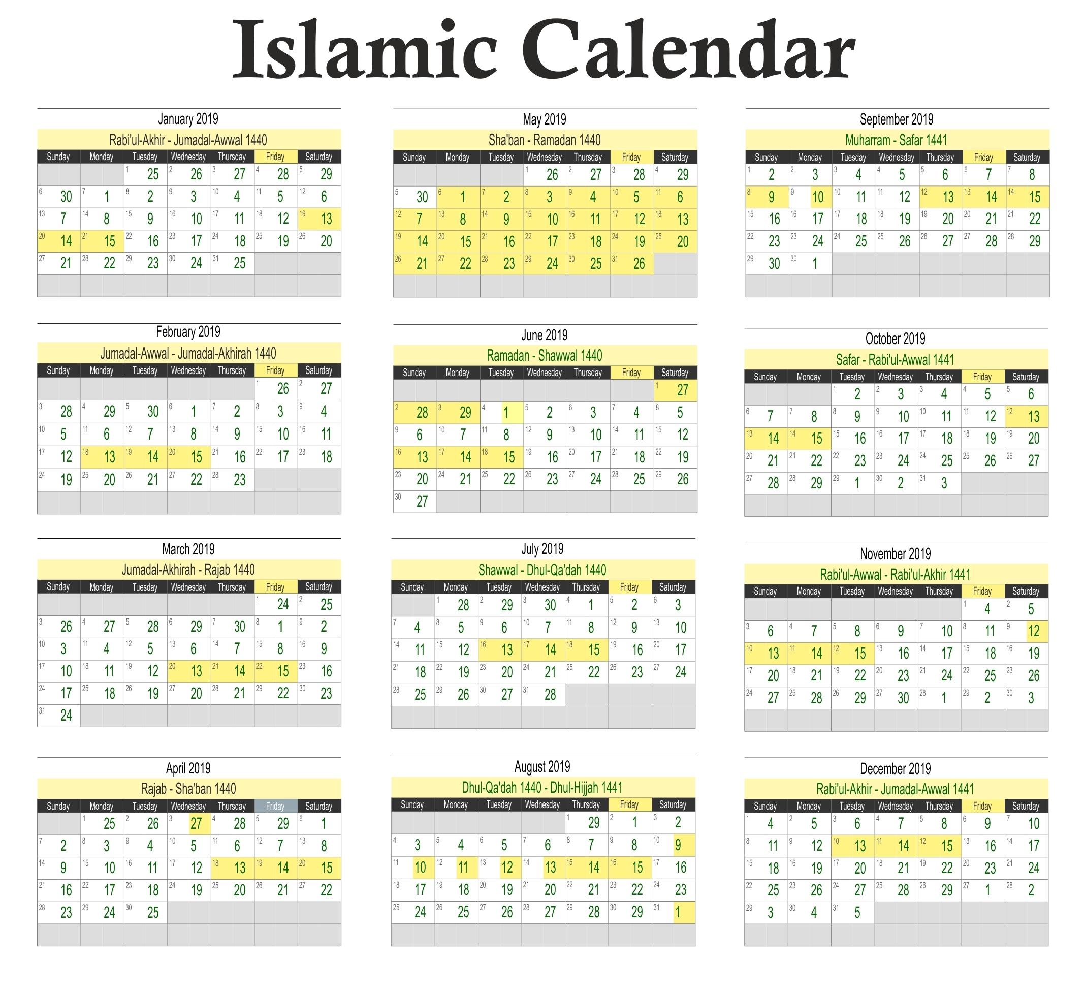 Calendar Muslim Holidays 2019 • Printable Blank Calendar Template regarding Islamic Calendar For The Philippines