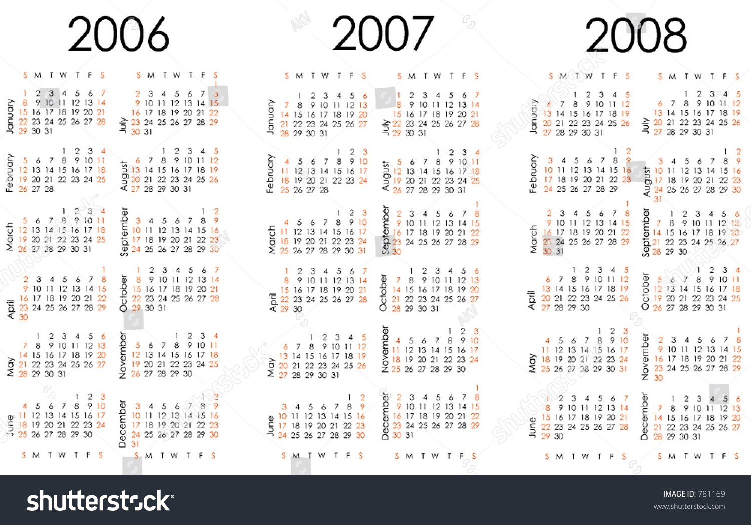 Calendar Next Three Years All Numbers Stock Vector (Royalty Free pertaining to Calendar With All The Years