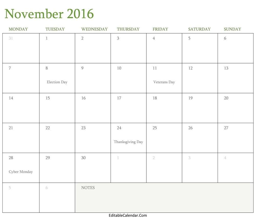 Calendar November 2016 Printable Template 17 Editable Calendar pertaining to Fillable Monthly Calendar December 2015
